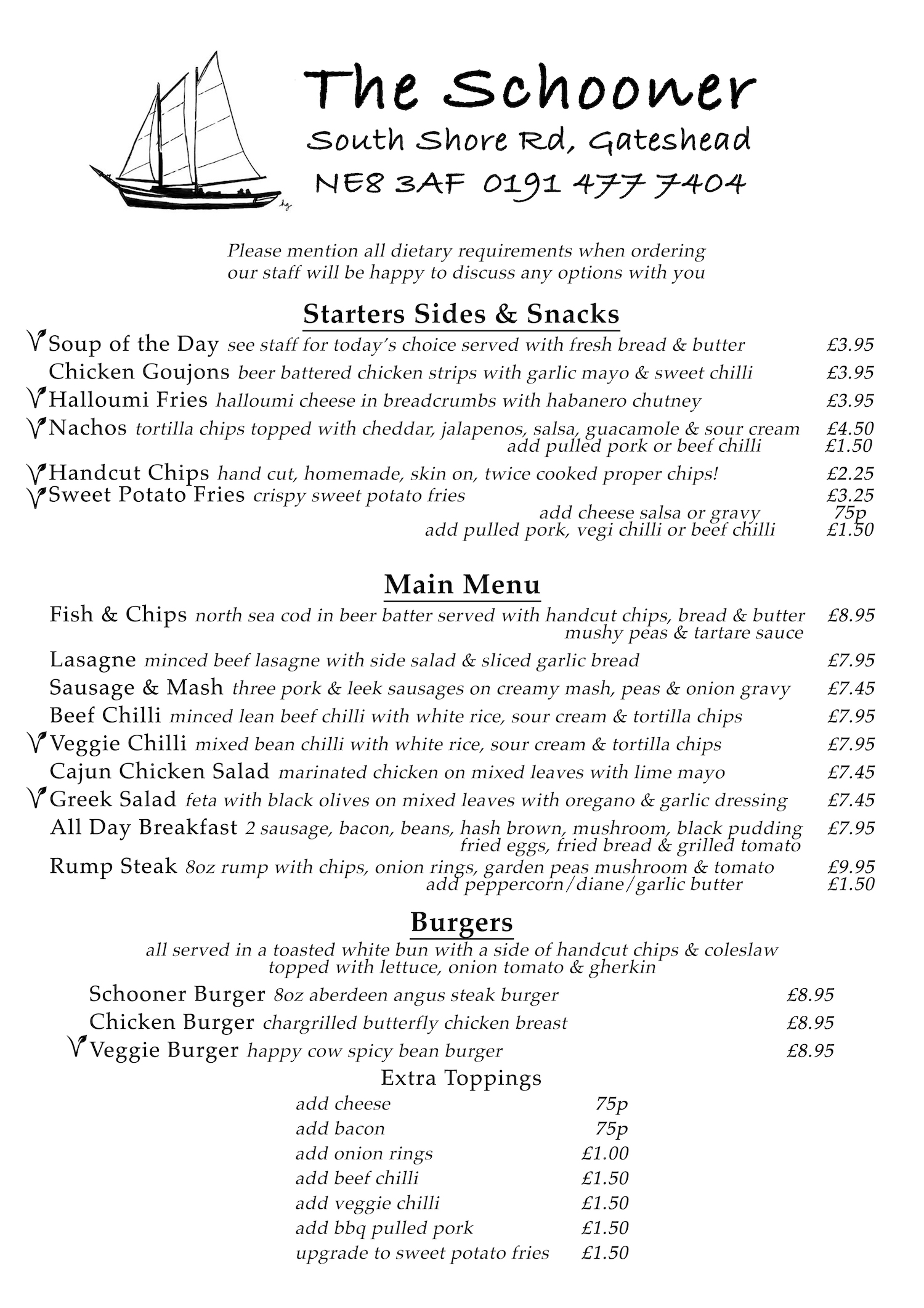 The Schooner Pub Menu Image 1